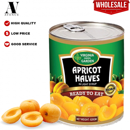 Virginia Green Garden Apricot Halves in Light Syrup 820g أنصاف مشمش في شراب خفيف